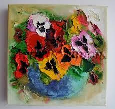 pansies textured original oil painting impasto palette knife flowers bouquet europe artist offer