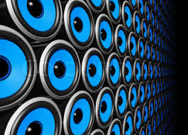 speakers background. blue speakers wall background