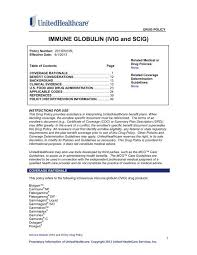 Gammagard Infusion Rate Chart Immune Globulin Ivig And Scig Unitedhealthcareonline Com