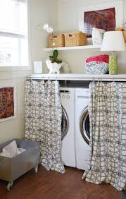 Designs Ideas:Unsightly Laundry Appliances With Patterned Curtains Under  Small Wall Shelf How To Set