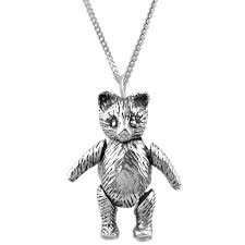 pt513 moving teddy bear pendant on chain sterling silver ari d norman