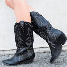 black cowgirl boots vintage chunky heel mid calf boots for women image 1