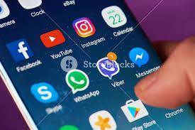 New york USA May 22 2017 Viber app icon on modern smartphone
