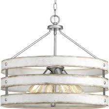progress lighting gulliver 4 light galvanized drum pendant with weathered white wood accents
