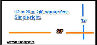 Like the in the example below its' a simple space of 12 feet by 20 feet  =240 square feet.