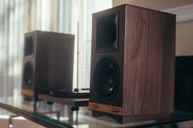 klipsch powered speakers. they carry a sense of confidence and swag that most speakers can\u0027t match. the real wood veneer tactile spun copper switches/knobs blend so well with klipsch powered i
