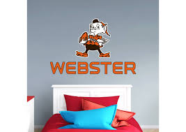 cleveland browns brownie the elf stacked personalized name fathead wall decal on cleveland browns wall art with cleveland browns brownie the elf stacked personalized name wall
