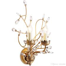 american style branch wall sconce lights iron crystal chandeliers wall lamp 2 e14 lamp holder for bedside bedroom dinning room restroom by