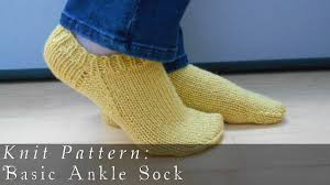 Knitted Sock Patterns Best Basic Ankle Sock Knit Pattern YouTube