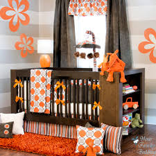 modern nursery bedding orange