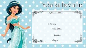 printable princess jasmine disney birthday invitation this invitation comes in simple blue polka dot design simply the invitation and fill in your details a pen or marker