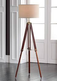 Surveyor Modern Tripod Floor Lamp Cherry Wood Beige Linen Drum Shade