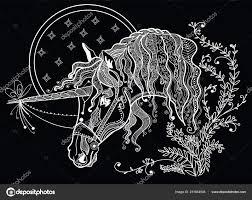 Disegni Unicorno Da Stampare Mano Vettore Disegno Unicorno