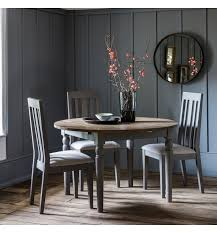 cookham round extending grey dining table style our home tap to expand