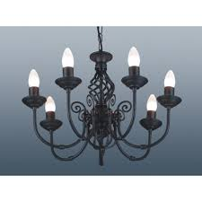 matt black classic ceiling light chandelier 7 arm twisted scroll fitting 51cm zoom