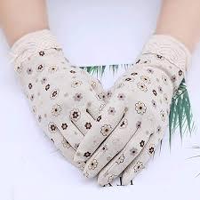 Uoyov <b>Korean Version of</b> Cotton Floral Sunscreen Gloves Female ...