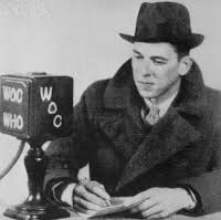 Image result for Reagan took his first media job as a radio sports announcer in the Midwest.