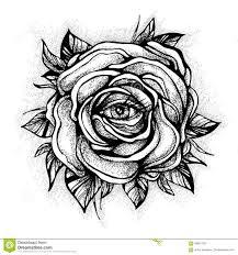 вспышка татуировки Blackwork розовый цветок сильно детальная