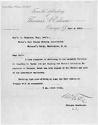 petition signed by thomas a edison for sunday openings at the  detail of cover letter from thomas edison