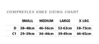 Compreflex Sizing Chart Compreflex Knee Compression Wrap