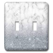Gray Light Switch Covers 3drose Anne Marie Baugh Glitter And Bling Gray Faux Digitally Printed Marble And Glitter Design Light Switch Covers Double Toggle Switch