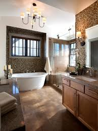 Transitional bathroom ideas Wood Master Bathroom With Mosaic Tile Walls Hgtvcom Transitional Bathrooms Pictures Ideas Tips From Hgtv Hgtv