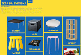 To save you the embarrassment of mispronouncing the names of IKEA products,  here is website that teaches you some Swedish.