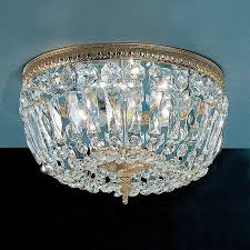 classic lighting crystal baskets 12 in w olde world bronze crystal flush mount light