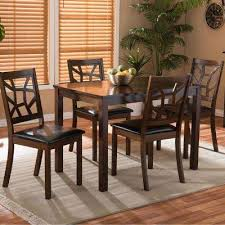 mozaika 5 piece dark brown faux leather upholstered dining set