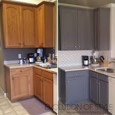 painted oak kitchen cabinets before and after. Gray-kitchen-before-after Painted Oak Kitchen Cabinets Before And After R