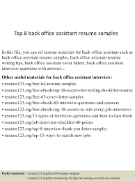 Office Assistant Resume Beauteous Top 40 Back Office Assistant Resume Samples