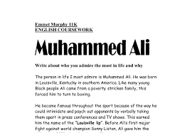 muhammed ali write about who you admire most in life any why a  document image preview