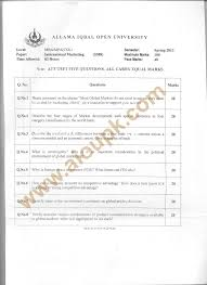 international marketing code mba aiou old papers spring