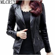 2018 spring autumn pu leather jacket women soft faux leather coat short slim black motorcycle jackets