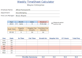 Excel Timesheet Calculator Template For 2019 Free Download