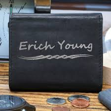 men s black leather tri fold personalized wallet