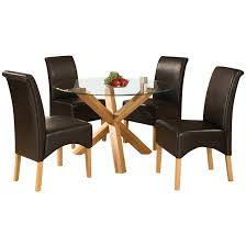 description solid oak and glass dining table and chair set with a 42 diameter clear glass table top this round shape dining set includes 4 high back