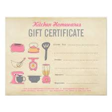 Kitchen Homewares Gift Certificate Gift Voucher Diy Template