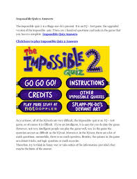 The Impossible Quiz 2 Answers Impossible Quiz 2 Answers