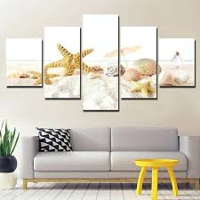 art for living room canvas pictures wall framework home decor 5 pieces beach sand s paintings prints starfish conch poster van sets