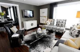 Awesome-modern-gray-white-black-yellow-living-room