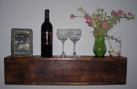 decorative rustic floating shelf with thick wood
