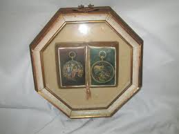 vintage 1950 s wooden shadow box frame contents are a victorian scene book hex shape glass and