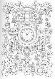 メルヘンチック 鳥 時計 お花 ぬりえ ぬり絵ぬりえ塗り絵