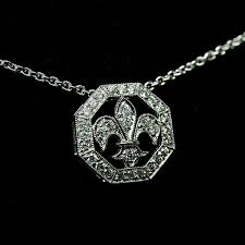 details about 0 25 tcw round cut diamond 14k white gold over fleur de lis pendant necklace