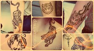 мехенди тигр рисунок хной примеры фото и значение рисунка