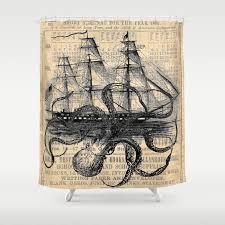 cool shower curtains. Octopus Kraken Attacking Ship Antique Almanac Paper Shower Curtain Cool Curtains A