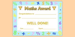 Maths Award Certificate Maths Award Certificate Amazing