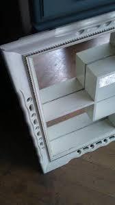 vintage shadow box white mirror mid