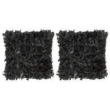 <b>Cushions 2 pcs Shaggy</b> Black 45x45 cm Leather and Cotton Sale ...
